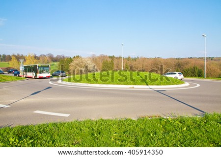 Roundabout in a rural region - stock photo