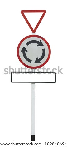 Roundabout road sign on white with clipping path