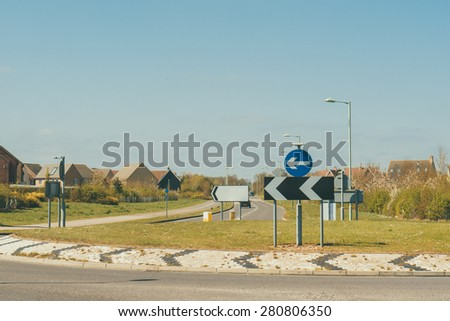 Roundabout sign on a British road closeup - stock photo
