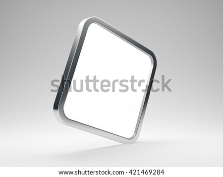 Rounded square blank metallic icon with white screen - 3D render - stock photo