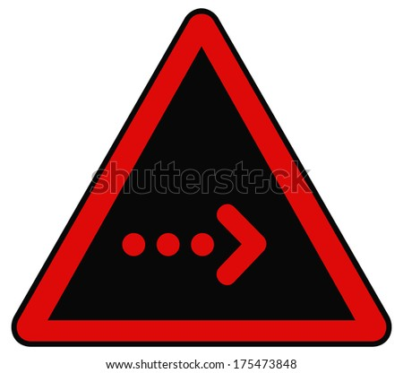 Rounded triangle shape hazard warning sign with arrow symbol. Bitmap illustration