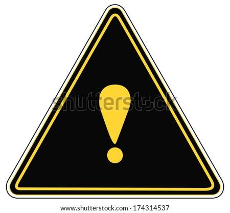 Rounded triangle shape hazard warning sign with exclamation mark symbol. Bitmap