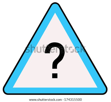 Rounded triangle shape hazard warning sign with question mark symbol. Bitmap - stock photo
