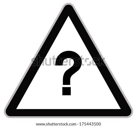 Rounded triangle shape hazard warning sign with question mark symbol. bitmap illustration - stock photo