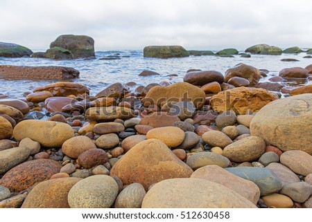 Rounded yellow stones on the Baltic seashore