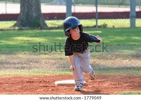 Rounding second base - stock photo