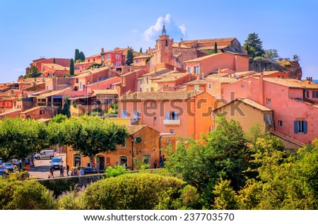 Rousillon, France, one of the most beautiful villages of France (Les Plus Beaux Villages de France) nomination - stock photo