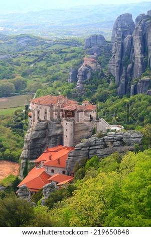 Roussanou monastery at Meteora, Greece  - stock photo