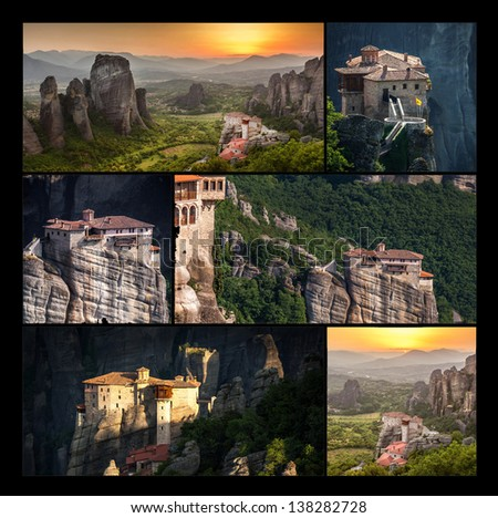 Roussanou Monastery at Meteora Monasteries in Trikala region, Collage - Greece. - stock photo
