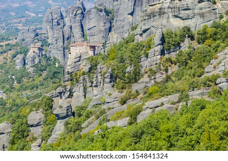 Roussanou Monastery at Meteora Monasteries in Trikala region, Greece. It belongs to the UNESCO World Heritage Site - stock photo