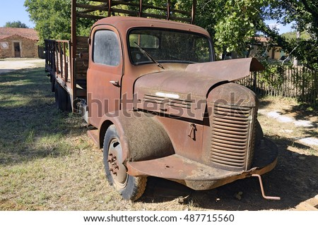 ROUSSILLON, FRANCE - SEPTEMBER 1: a rusty old truck abandoned in the French countryside, september 1, 2016.
