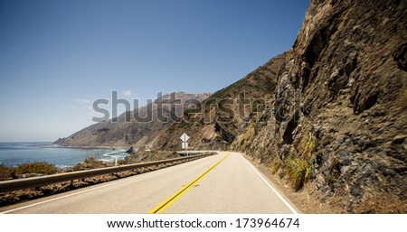Route 1, also known as the Pacific Coast Highway - stock photo