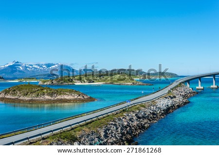 Route 862 between Tromso and Sommaroy in Troms, Northern Norway - stock photo