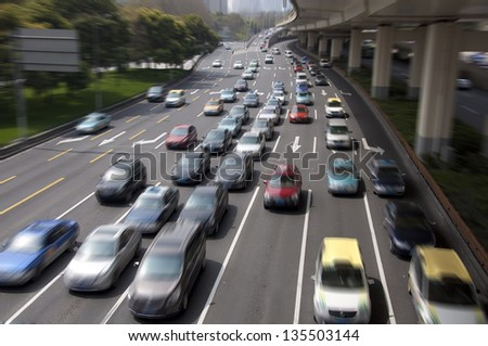 route busy hours - stock photo