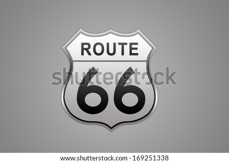 Route 66 glossy Road Sign isolated on grey background. - stock photo