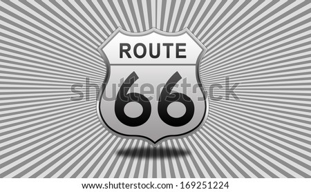Route 66 glossy Road Sign isolated on grey sunbeam background. - stock photo