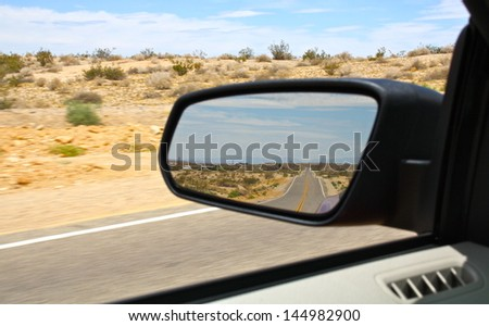 Route 66 in the Mirror - stock photo