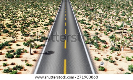 Route 66 in the USA Computer generated 3D illustration - stock photo
