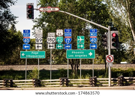 Route 66 intersection signs somewhere in Arizona - stock photo