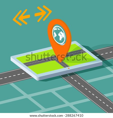 Route map on the tablet. City navigation app. Stock image. - stock photo