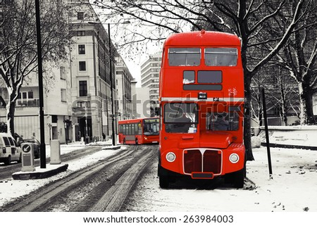 Route Master Bus on a snowy day, winter, London.