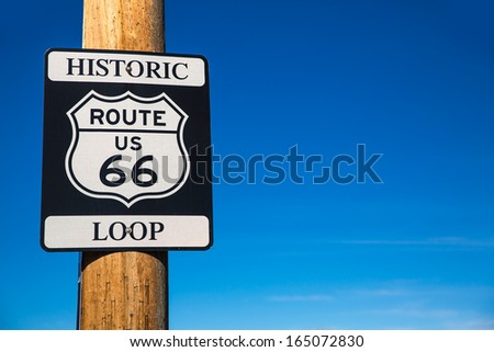 Route 66 road loop sign in Arizona historic road USA