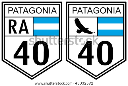Route 40 road sign located in Argentina with Patagonia text - stock photo