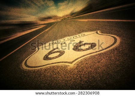 Route 66 road sign with vintage texture effect - stock photo