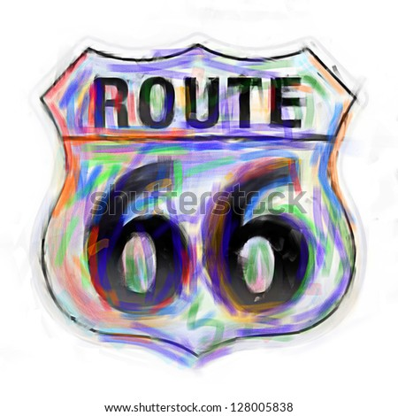 Route 66 sign done in a painterly colorful style. - stock photo