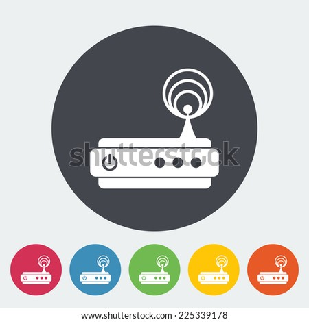 Router. Single flat icon on the circle.  - stock photo