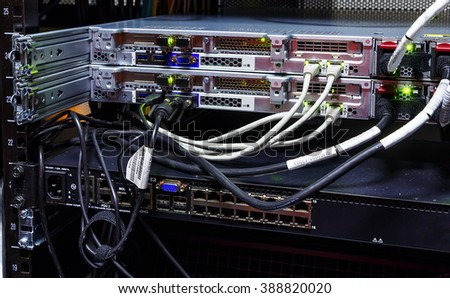 Router supercomputer rack close-up, wires and connectors - stock photo