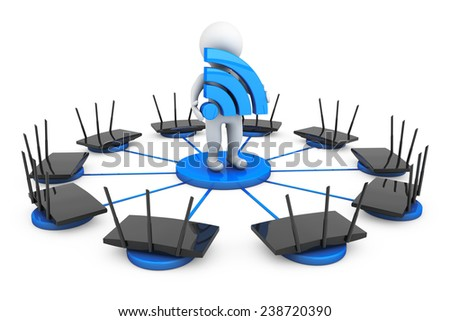 Routers around 3d Person with Wi-Fi sign on a white background - stock photo