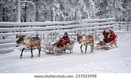 ROVANIEMI, FINLAND - DECEMBER 30, 2010: Racing on the reindeer sleds in Rovaniemi on December 30, 2010