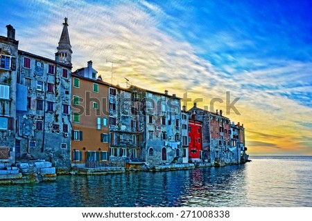 Rovinj, beautiful old town in Istria of Croatia, Europe. This is HDR image. - stock photo