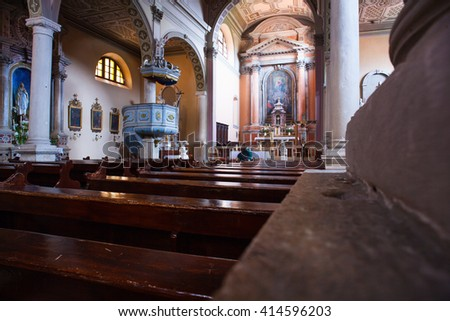 ROVINJ, CROATIA - APRIL, 17: Interior of the church of the Nativity of the Blessed Virgin Mary on April 17, 2016