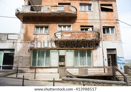 ROVINJ, CROATIA - APRIL, 17: View of old abandoned building on April 17, 2016