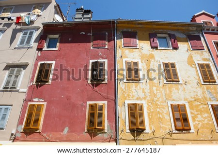 ROVINJ, CROATIA - JULY 26 : Old residential colorful architecture on July 26th, 2009 in Rovinj, Croatia. Rovinj is a popular tourist destination on the Adriatic coast in Croatia.