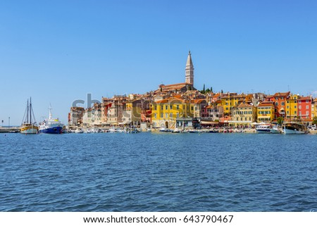 Rovinj, Croatia - May 1, 2017: unique view on the medieval town of Rovinj as seen from the sea