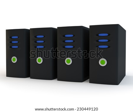 row abstract Internet of servers - stock photo