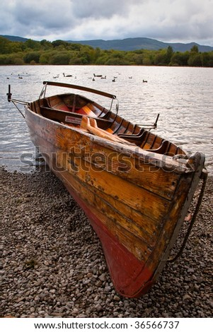 Row boat on Derwent Water lake in Keswick, Lake District