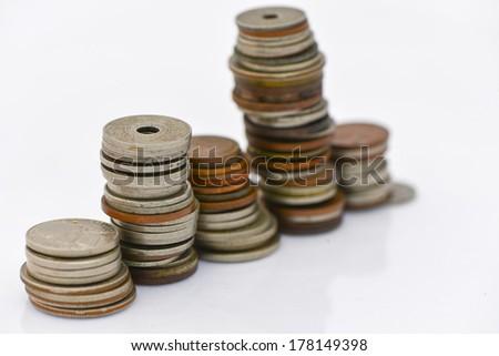 row coin - stock photo