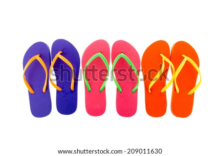 Row colorful flip flops