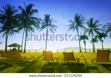 Row deckchairs on beach at sunset, Tanjung Aru, Malaysia.