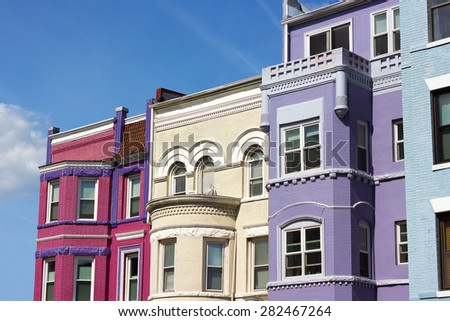Row houses on a sunny day in Washington DC, USA. Historic townhouse architecture of US capital. - stock photo