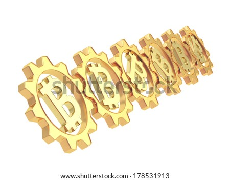 Row of a golden gears with a bitcoin peer-to-peer crypto currency sign inside, isolated over white background