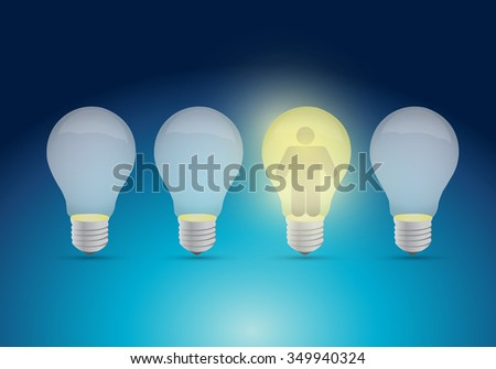 row of a light bulb and avatar illustration design graphic