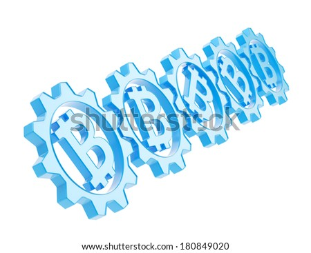 Row of a plastic blue gears with a bitcoin peer-to-peer crypto currency sign inside, isolated over white background - stock photo