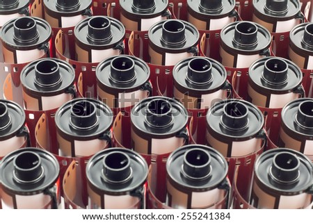 row of abstract of mm film rolls - stock photo