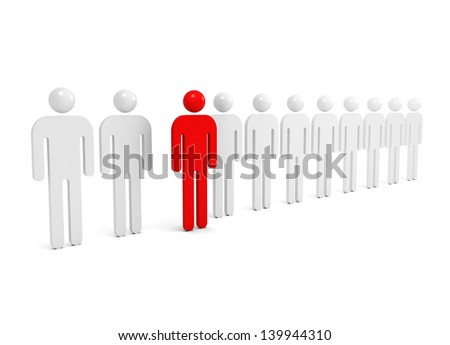Row of abstract white people with one red outstanding figure - stock photo