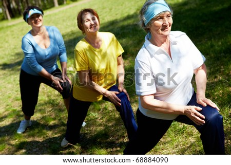 Row of aged women doing physical exercise in the forest - stock photo
